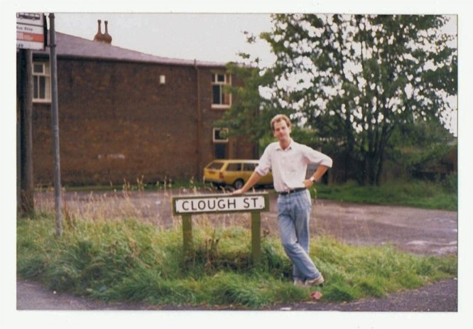Dave at the corner of Clough Street (visiting Wardle in 1987)